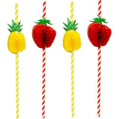 Pineapple & Strawberry Striped Paper Straws (Pack of 10)