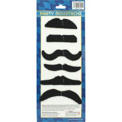 Black Stick On Party Moustaches (Pack of 6)