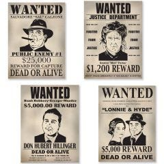 Gangster Wanted Sign Cutouts (Pack of 4)