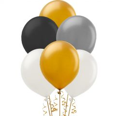 Black Gold and Silver Metallic Balloons 30cm (Pack of 20)