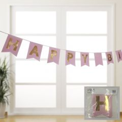 Pink and Gold Happy Birthday Banner 3.3M