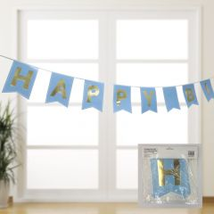 Blue and Gold Happy Birthday Banner 3.3M