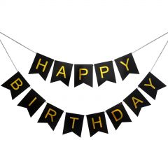 Black and Gold Happy Birthday Pennant Banner