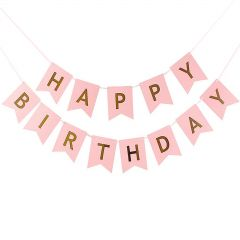 Pink and Metallic Gold Happy Birthday Pennant Banner
