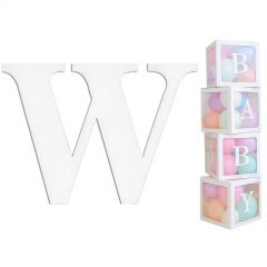 White Cardboard Letter W (Pack of 2)