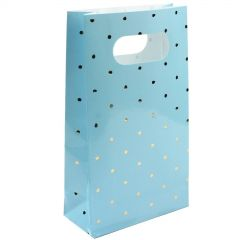 Blue and Gold Foil Dot Paper Treat Bags (Pack of 6)