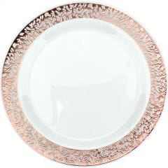 Rose Gold Lace Trim Large Plastic Plates (Pack of 6)