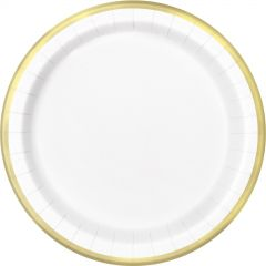 White & Gold Foil Trim Large Paper Plates (Pack of 8)