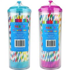 Neon Drinking Straws With Dispenser (Pack of 120)
