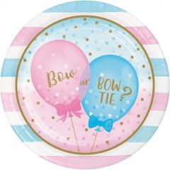 Gender Reveal Baby Shower Large Paper Plates (Pack of 8)
