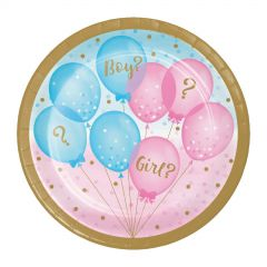 Gender Reveal Baby Shower Small Paper Plates (Pack of 8)