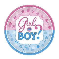 Girl or Boy Small Paper Plates (Pack of 8)