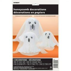 Ghost Honeycomb and Mesh Decorations (Pack of 3)
