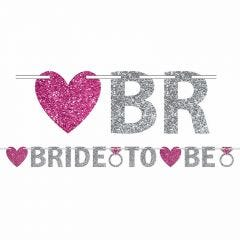 Silver Bride To Be Glitter Letter Banner