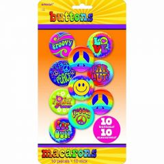 60's Hippie Badges (Pack of 10)