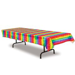 Hippie Tie Dyed Plastic Tablecloth