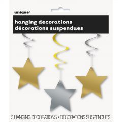 Star Hanging Decorations Silver and Gold (Pack of 3)