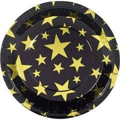 Gold Foil Star Large Paper Plates (Pack of 8)