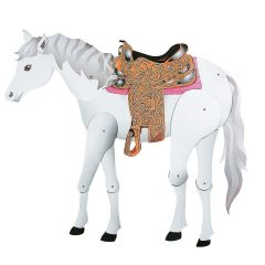 Jointed White Horse Decoration