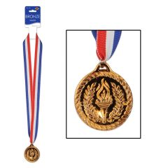 Plastic Olympic Bronze Medal with Ribbon