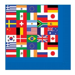 International Flags Small Napkins / Serviettes (Pack of 16)