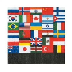 Flags Of The World Small Napkins / Serviettes (Pack of 16)