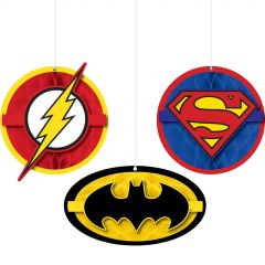 Justice League Heroes Unite Honeycomb Decorations (Pack of 3)