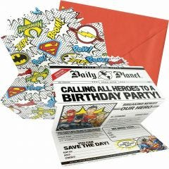 Justice League Heroes Unite Deluxe Invitation Set (Pack of 8)