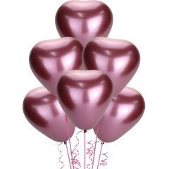 Chrome Rose Red Heart Shaped Balloons (Pack of 50)