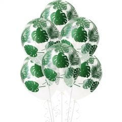 All Over Green Palm Leaves Luau Balloons (Pack of 12)