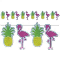 Flamingo and Pineapple Prismatic Garland Banner