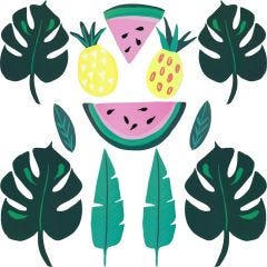 Tropical Fruit & Leaf Cutout Decorations (Pack of 12)
