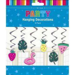 Tropical Fruit & Leaf Swirl Decorations (Pack of 6)