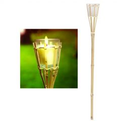 Bamboo Tiki Torch With Citronella Candle (76cm)