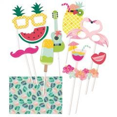 Tropical Party Photo Booth Props and Backdrop