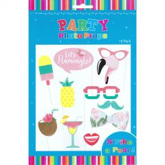 Let's Flamingle Tropical Photo Booth Props (Pack of 10)
