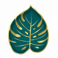 Key West Green and Gold Palm Leaf Small Paper Plates (Pack of 8)