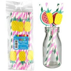 Pineapple & Watermelon Striped Party Straws (Pack of 20)