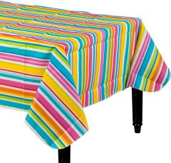 Summer Stripes Flannel Backed Tablecloth