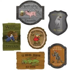 Medieval Tavern Sign Cutouts (Pack of 6)