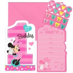Minnie Mouse Fun To Be One Party Invitation Set (Pack of 8)