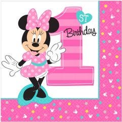 Minnie Mouse Fun To Be One Large Napkins / Serviettes (Pack of 16)