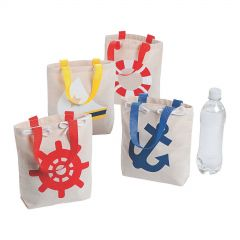 Nautical Small Canvas Tote Bags (Pack of 12)