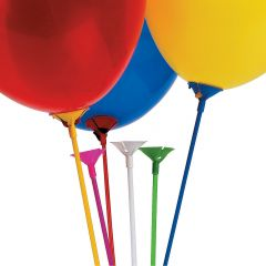 Coloured Balloon Sticks and Cups (Pack of 144)