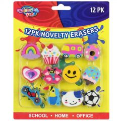 Mixed Novelty Erasers (Pack of 12)