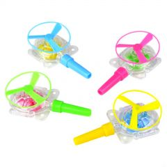Pack of 12 Neon Plastic Whistle Blow Saucers