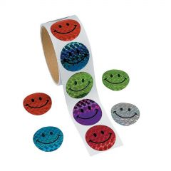 Prismatic Round Smiley Face Stickers (Roll of 100)