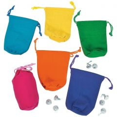 Coloured Canvas Drawstring Bags (Pack of 12)