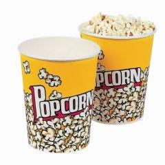 Yellow Popcorn Cups (Pack of 6)