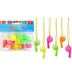Neon Plastic Whistles (Pack of 8)